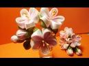 Ribbon flowers how to make:double petal from one square/pin/Цветы из лент: двойной лепесток/шпилька