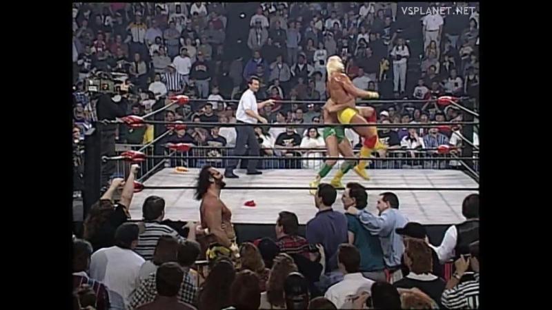 Hulk Hogan Randy Savage vs Ric Flair Kevin Sullivan, WCW Monday Nitro 18.03.1996