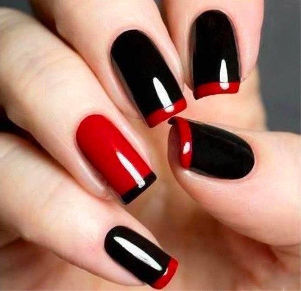 Дизайн ногтя красный с черным