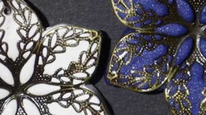 Metal Lace Flower Pendants - Polymer Clay Tutorial