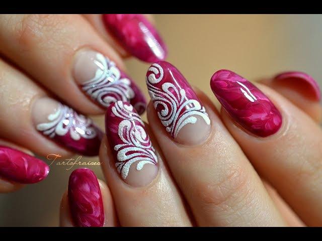 Tuto nail art ongles marbrés très facile et effet sucre baroque