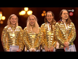 VM Oslo 2016: Women's relay MEDAL ceremony - Norway, France, Germany