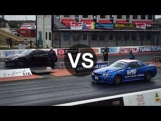 Nissan Skyline GTR R34 1500HP Vs Nissan GTR Drag Race