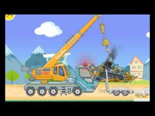 Мультик - Экскаватор, Погрузчик и Кран работают на стройке.