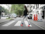 Public flashing in Gianmarco lorenzi fluo spike heels (2012 coll.) on avenue louise