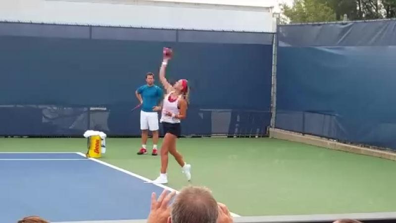 Vika at practice ( throw football ) CincyTennis