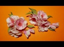 Fabric flowers how to make sprig of cherry blossoms/цветы из ткани веточка сакуры