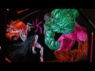 Desenhando Hulk vs Ichigo Vasto Lorde - Drawing Hulk vs Ichigo Vasto Lorde