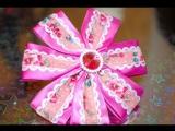 Канзаши мастер-класс. Цветы из лент. Резинка для волос.Бант Канзаши для волос/Bow kanzashi