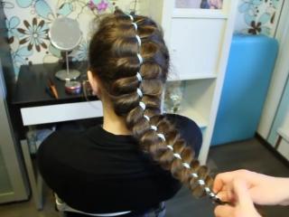 Коса с лентой - Дизайн прически - Плетение косичек