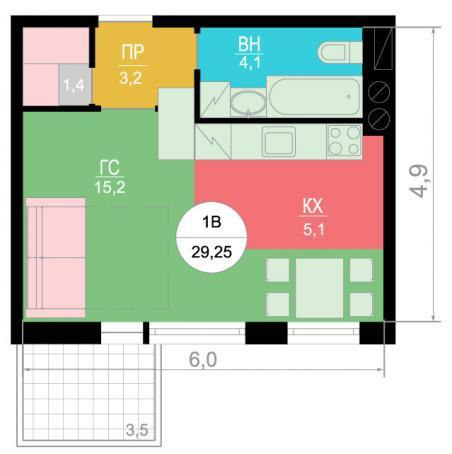 Два варианта планирования квадратной студии 29 м.