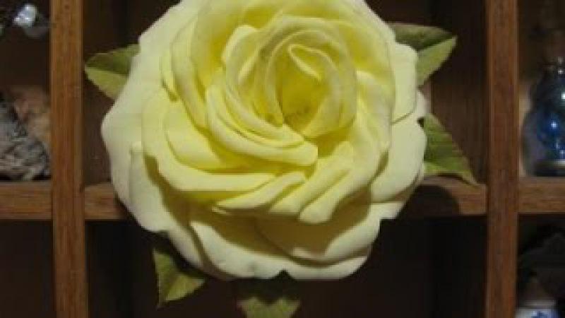 Роза из фоамирана без молдов из 30 лепестков. Мастер класс. Foam rose