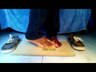 Crushing Banana Bare Feet And Messy Trashed Shoes