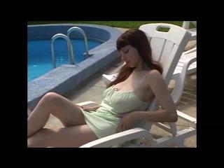 Huge boobs girl walking on flower garden