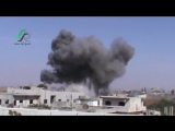 A short while ago, an intensive wave of #Russian air strikes targeted rebel-held town of al-Ghanṭū, n- Homs suburb.