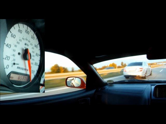 Nissan Skyline R34 GTR V-spec vs Mercedes Benz C63 AMG (300Km/h)