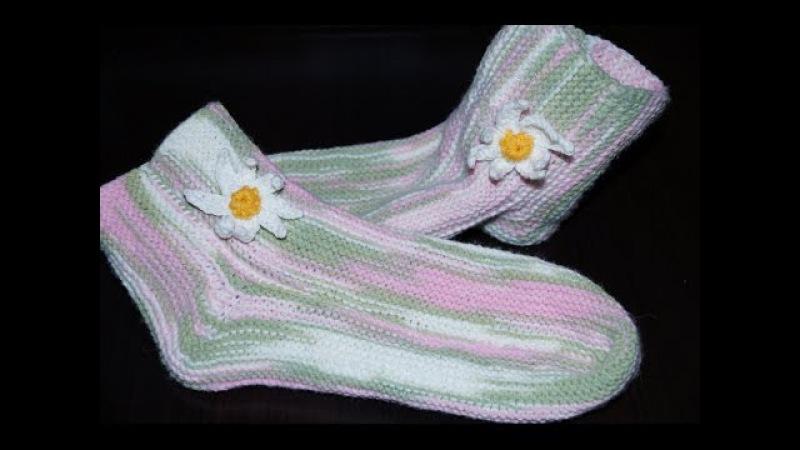 Вязание спицами для начинающих Носки на 2 спицах Knitting for beginners Socks on 2 needles