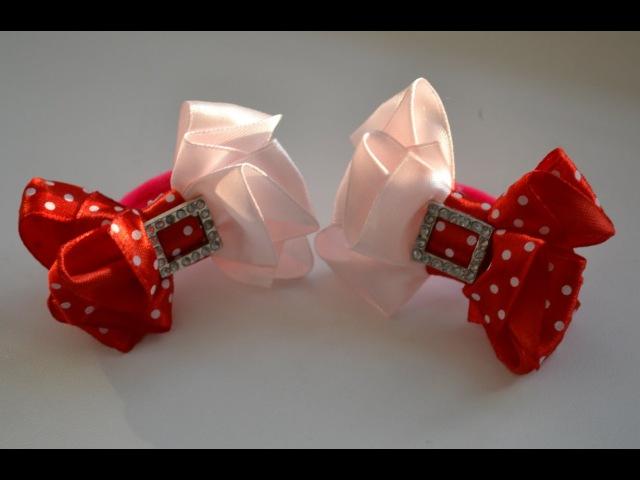 Мастер класс красивых бантиков Канзаши Цветы из лент Ribbon bow