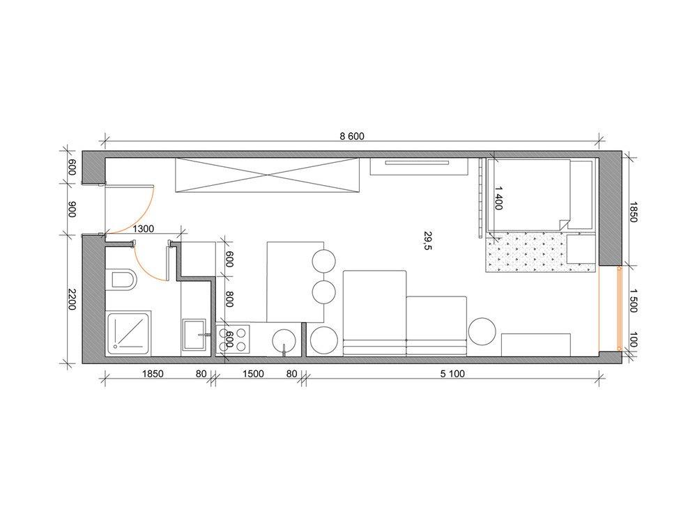 Концепт прямоугольной студии 29,5 м.