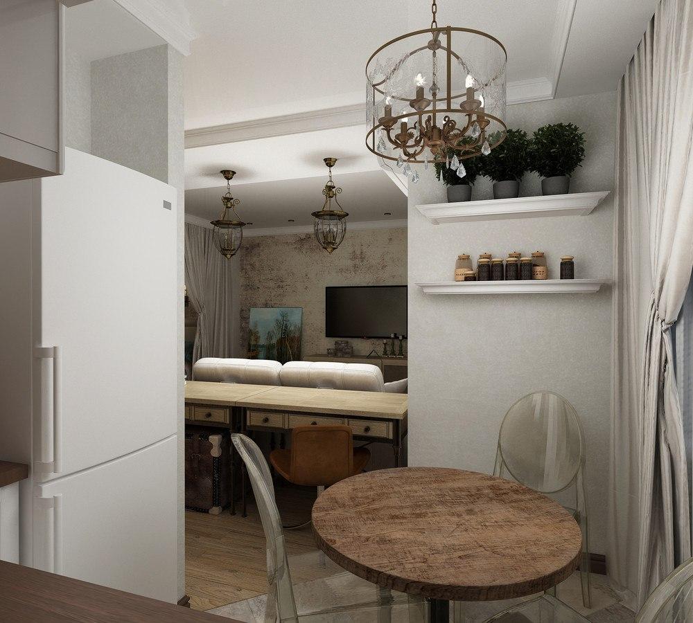 Проект квартиры 30 м с винтажными элементами.