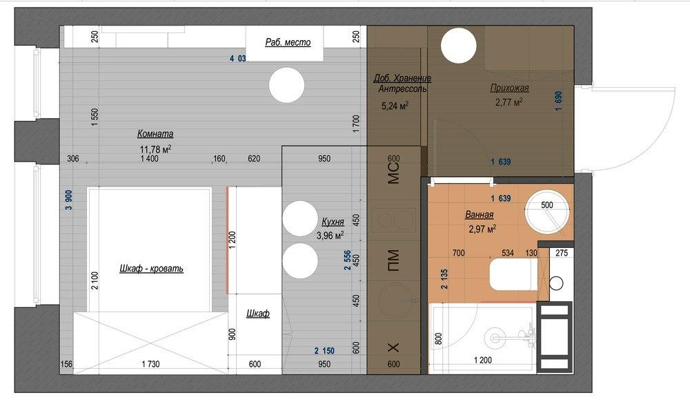 Проект маленькой студии 21,5 м с откидной кроватью-диваном.