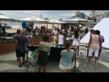Съемки Бразильского сериала на пляже Копакабана, музыка, пение