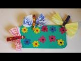 Поляна со стрекозами. Поделки для детей. Аппликации из цветной бумаги, пластилина и прищепок.