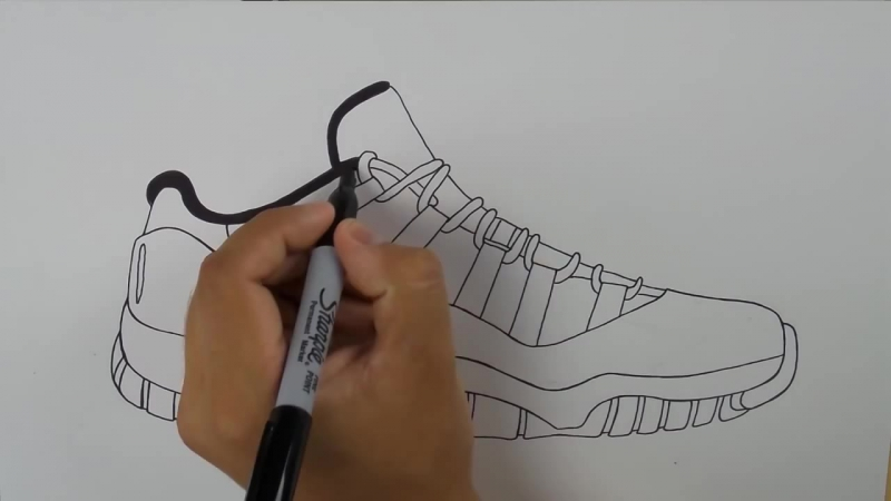 How To Draw Air Jordan 11 Low Concord w Downloadable Stencil