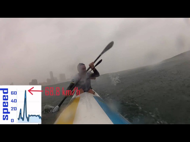 Tropical Cyclone 'IRINA' - 68.8km/h on a Double Surfski - The Mound - Durban