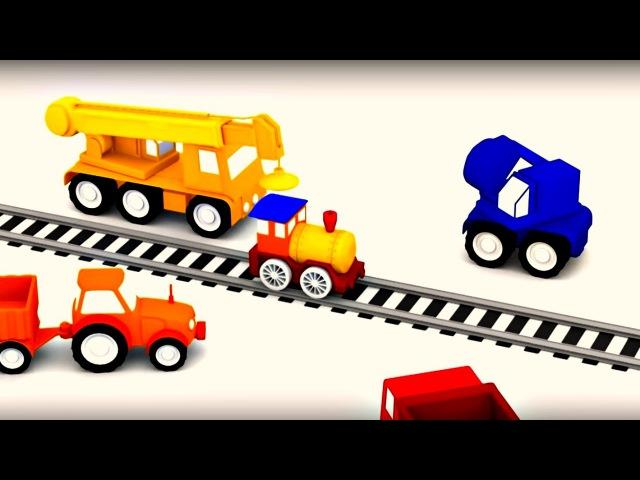 Dessin animé des 4 voitures colorées en français construction dun train