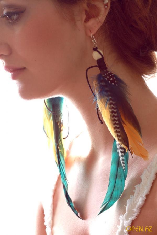 Как сделать серьги с перьев