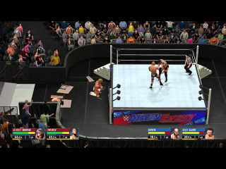 WWE 2K16 Tag Team Extreme Rules The Rock and Ultimate Warrior VS Batista and Heath Slater
