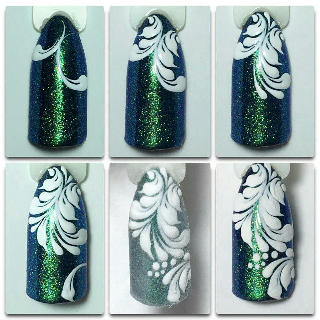 Рисуем завитки на ногтях фото