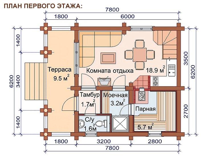 проекты 2х этажных бань 6х8 из бревна