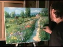 Как рисовать лес, поле, природу, деревню Мастихином Маслом Смешанная техника Сах...