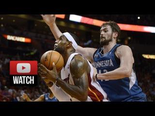 2014.04.04 - Kevin Love vs LeBron James Full Battle Highlights - Timberwolves at Heat 2OT
