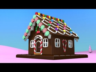 Christmas cartoons for toddlers kids children. Construction game: gingerbread house.