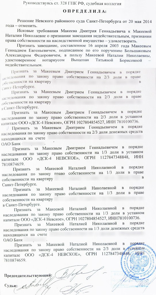 Решение суда о признании завещания недействительным по ст 178 безмолвие этой