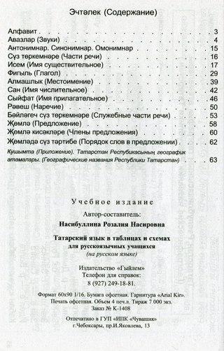 Татарский язык в таблицах и