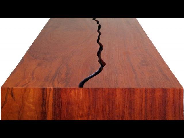 Split top slab bench