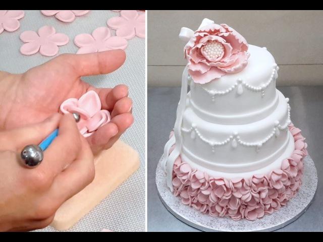 Elegant Wedding Cake How To *Decorar con Fondant by CakesStepByStep