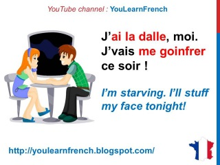 French Lesson 175 - At the RESTAURANT Informal French dialogue conversation Slan...