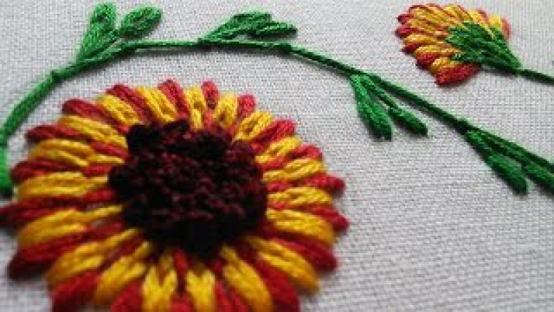 Stitching|Embroidery Tutorial | Long and Short Stitch | Beautiful Flower | HandiWorks 26