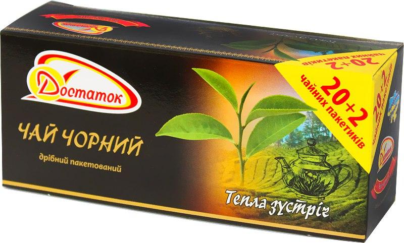 Чай чорний пакетований, Достаток, 1.5*22 шт.