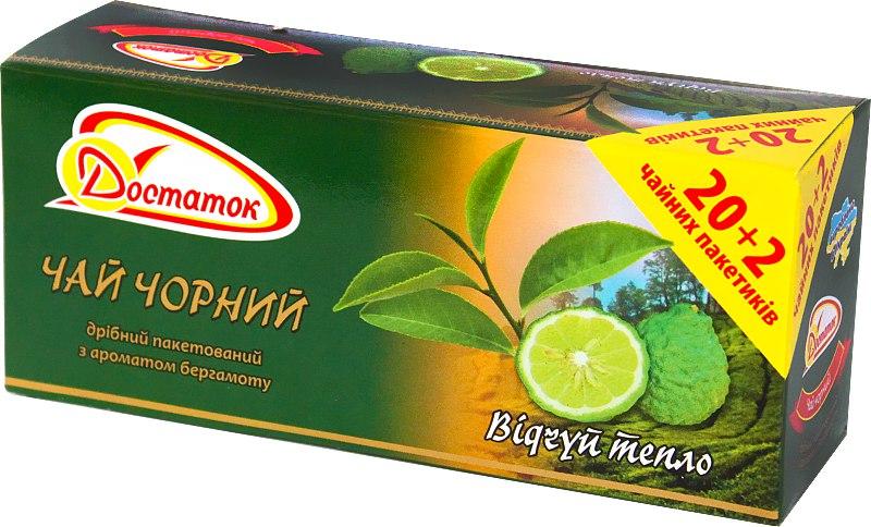 Чай чорний пакетований з ароматом бергамоту, Достаток, 1.5*22 шт.