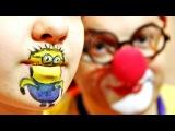 Смешное видео. Клоун Дима и друзья.  Аквагрим с героями мультфильмов. Игры для детей.