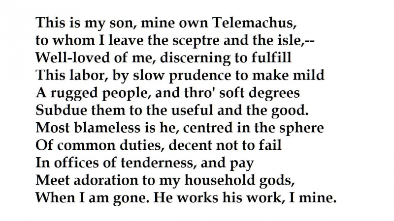 ulysses by alfred tennyson Read this full essay on ulysses by alfred tennyson - poem the literary devices used in this poem appropriately describe ulysses journeys and experiencesthe literary devices that lord tennyson used in his poem helped convey the theme more efficiently by making a statement.