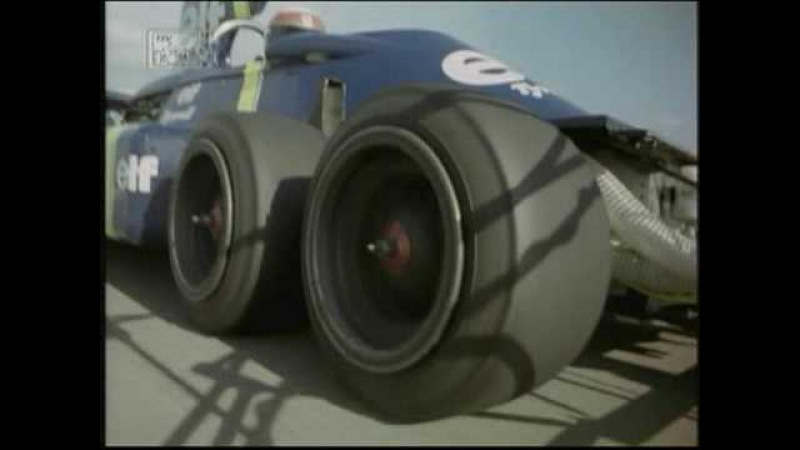 Jackie Stewart tests the P34 Tyrrell 6 wheeler