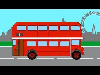 Раскраска  Красный Лондонский Автобус  Раскрашиваем и учим цвета  Мультфильм для малышей