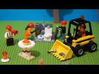 Игры для детей с LEGO. Пицца для строителей. Лего стройка.